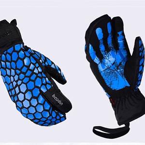 Чоловічі гірськолижні трипалі рукавички Boodun синій