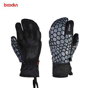 Чоловічі гірськолижні трипалі рукавички Boodun сірий
