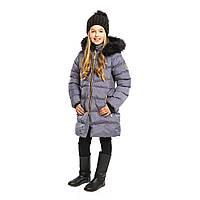 Зимнее пальто для девочки NANO F19M1252 Smoke/Gold. Размеры 2-14.