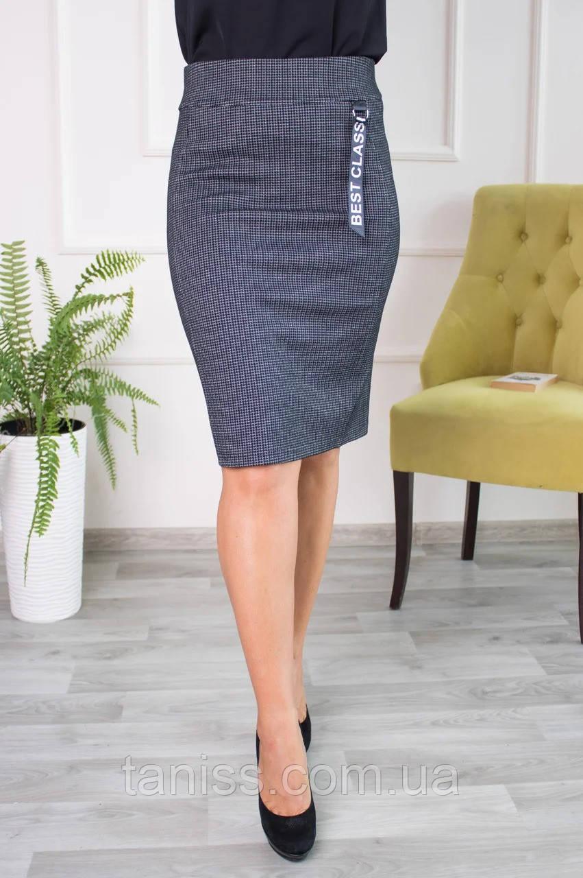 Женская молодежная юбка Верона, пояс резинка, ткань трикотаж Алекс р.44,46,52,54 серая, спідниця