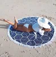 Пляжный коврик Мандала. Темно-синий.
