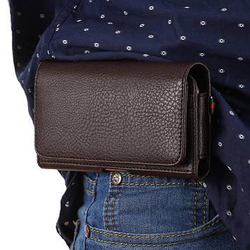 """DOOGEE Y7 Plus чехол на пояс оригинальный поясной кожаный из натуральной кожи с карманами """"RAMOS"""""""