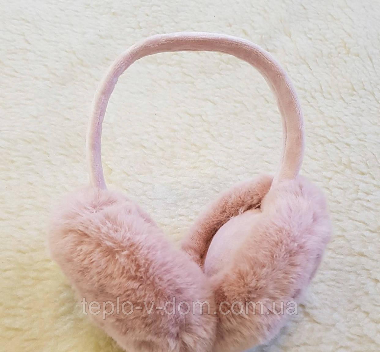 Меховые наушники, розовые