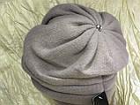 Зимова кашемірова бордова шапка з об'ємним плетінням, фото 3