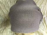 Зимова кашемірова бордова шапка з об'ємним плетінням, фото 4