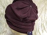 Зимова кашемірова бордова шапка з об'ємним плетінням, фото 2