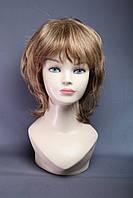Парик женский из натуральных волос, стрижка каскад, объемная макушка, цвет русый мелированный