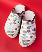 Медицинская обувь сабо Heart white, фото 1