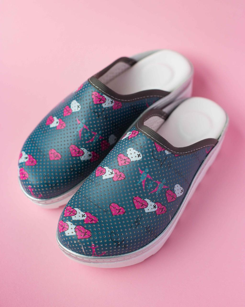 Медицинская обувь сабо Heart gray