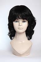 Парик женский из натуральных волос, стрижка каскад, объемная макушка, цвет черный