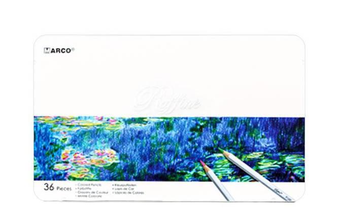 """Карандаши цветные 36 цветов """"MARCO"""" Raffine 7100-36TN в металлическом пенале, фото 2"""