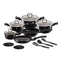 Набор посуды 15 предметов Berlinger Haus Black Silver Line ВН 6155