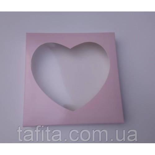 Коробка 20×20×3,5 розовое сердце
