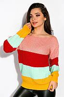 Свитер женский Time of Style зимний в разноцветную полосу (2 расцветки, оверсайз)