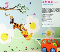 Наклейки для детской комнаты,  детские наклейки на мебель Медвежонок Винни и Тигр (лист 60*30см)