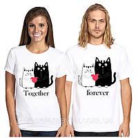 """Парные футболки """"Котики с сердцем"""""""