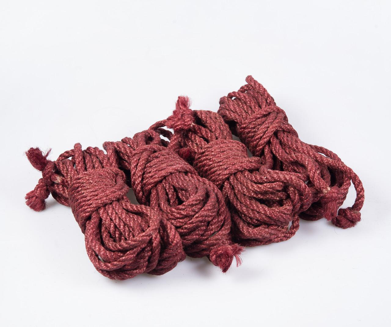 Набор веревок для шибари 4х8м. 6мм, джут. бардовая