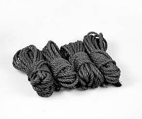 Набор веревок для шибари 4х8м. 6мм, джут. черная