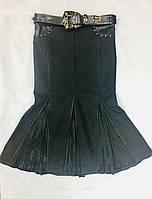 Юбка BLZ джинсовая с кожей и поясом годе миди, фото 1