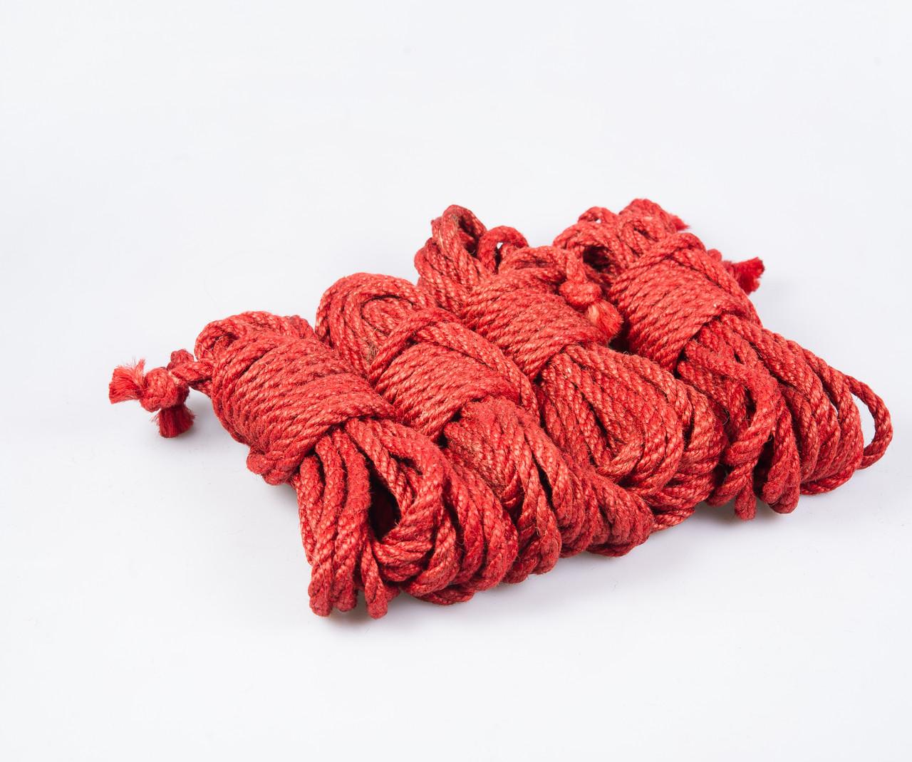 Набор веревок для шибари 4х8м. 6мм, джут.красная