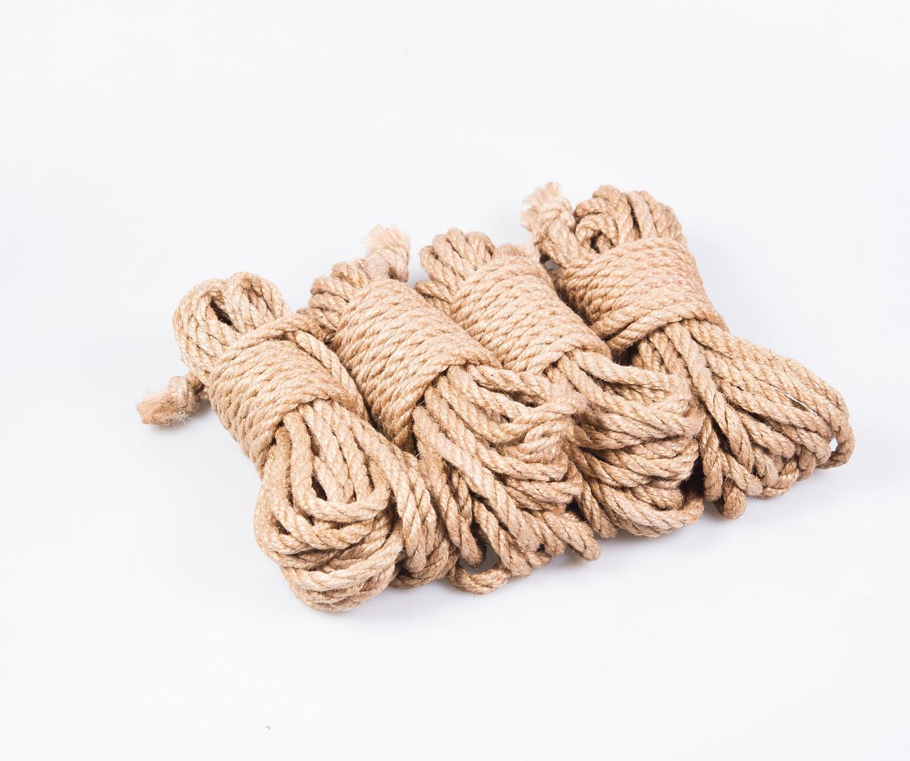 Набор веревок для шибари 4х8м. 6мм, БДСМ набор, джут.натуральная