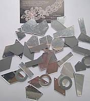 Дзеркальні пришивні стрази Crystal / Silver, мікс. 50 штук в уп., фото 1