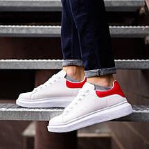 Кросівки чоловічі білі з червоною вставкою, фото 3