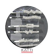 30754 невидимка KATTi серебро металл со стразами 5,3см 2шт, фото 3