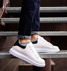Кросівки чоловічі з масивною підошвою, білі з чорною вставкою, фото 2