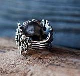 Кольцо серебряное Череп с Цветами КЦ-85 Б, фото 4