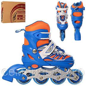 Детские роликовые коньки A 4122-S-BL Profi. Регулируется в 4-х размерах. Размер обуви: 31, 32, 33, 34, фото 2