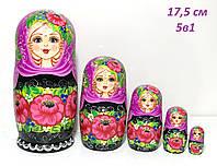 Оригинальный женский подарок, Красивые расписные цветами матрешки из 5 штук