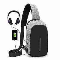 Городской мужской рюкзак сумка антивор в стиле Bobby mini с USB