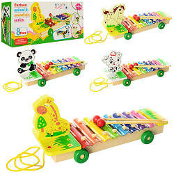 """Деревянная игрушка Wooden Toys """"Ксилофон"""", 8 тонов, палочки, каталка, 4 вида, 3057"""