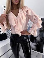 Блуза стильная с воланами в расцветках  52014, фото 1