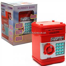 Копилка сейф с кодом, затягивает купюры, музыкальный, красный 13*13*18 см (1511)