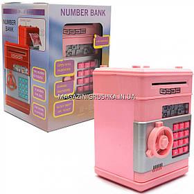 Копилка сейф с кодом, затягивает купюры, музыкальный, розовый 13*13*18 см (1511)