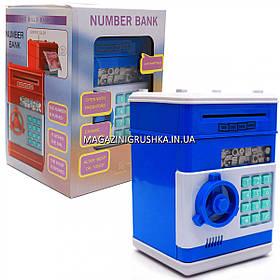Копилка сейф с кодом, затягивает купюры, музыкальный, синий 13*13*18 см (1511)