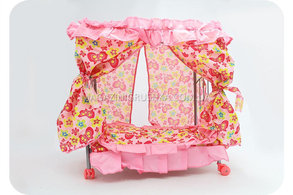 Кроватка металлическая на колесах с балдахином