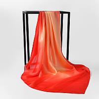 Шелковый платок  90х90 см амбре красный