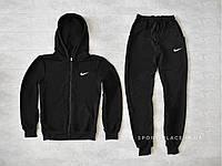 Мужской спортивный костюм Nike черный, толстовка с замком , штаны реплика