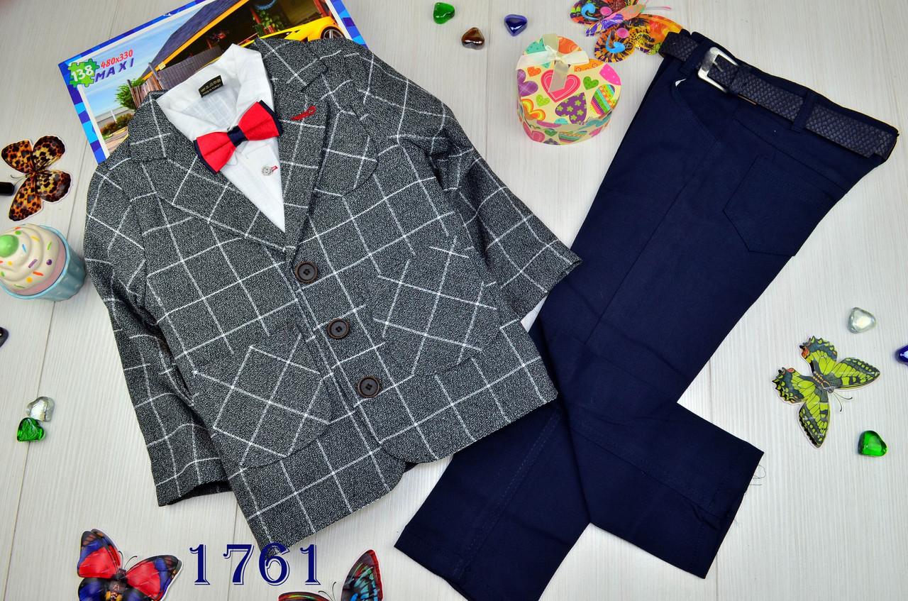 Нарядный коттоновый костюм тройка на мальчика джентельмен 8 лет