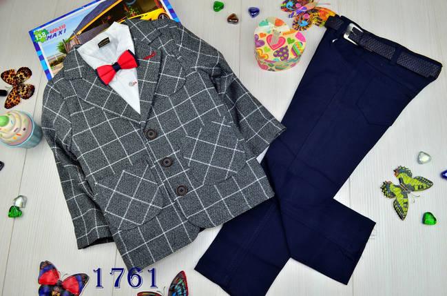 Нарядный коттоновый костюм тройка на мальчика джентельмен 8 лет, фото 2