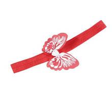 Детская повязка красного цвета - бабочка 8*5см, окружность 34-50см