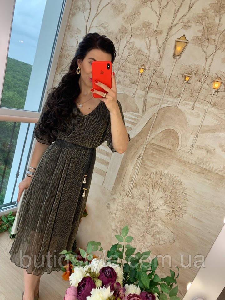 Нарядное платье из сетки гофре с поясом