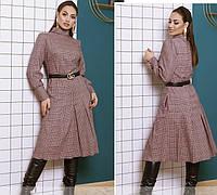 Модное платье в клетку с юбкой плиссе 48-50,52-54,56-58