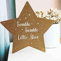 """Дитячий нічник у формі зірки """"Little Star"""", золоті блискітки, дерево 30*31см, 16 кольорів світла, ручна робота"""