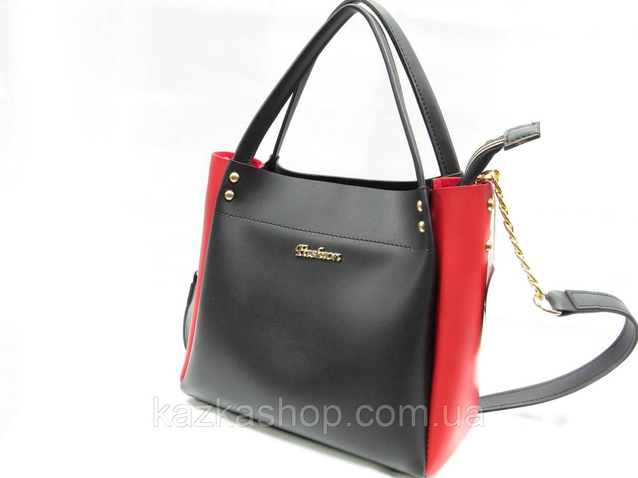 Женская сумка из искусственной кожи, один отдел, две ручки и плечевой ремень на цепочке