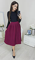 Модная плиссированная юбка миди