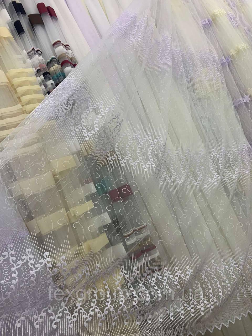 Красивая фатиновая тюль с нежной вышивкой 2807